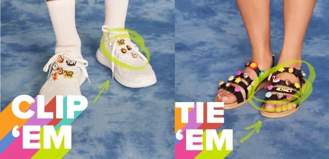 Clip 'Em' - White LiteRide Pacer with Jibbitz & Tie 'Em' - Black Strappy Sandals with Jibbitz