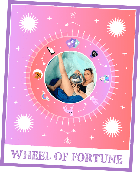 Natoo Posing within a Wheel of Fortune Tarot Card