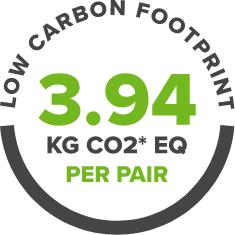 Low Carbon Footprint. 3.94 KG CO2 EQ Per Pair.