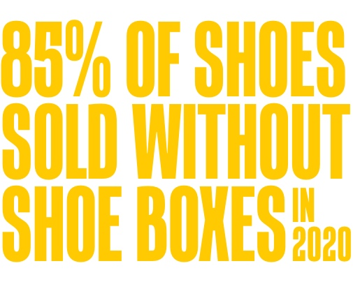 85% of shoes sold without shoe boxes in 2020.