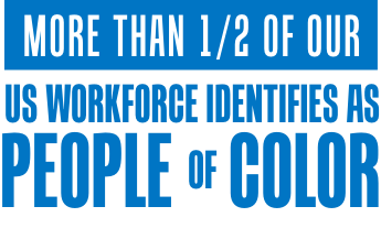 More than 1/2 of our US workforce identifies as people of color.