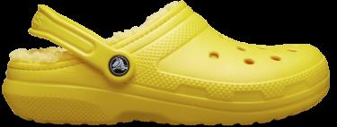 yellow fuzz classic clog.