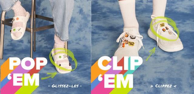 'Pop 'Em' - Classic White Sandals with Jibbitz & 'Clip 'Em' - White LiteRide Pacers with Jibbitz