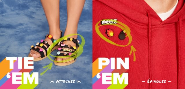 'Tie 'Em' - Black Strappy Sandals with Jibbitz & 'Pin 'Em' - Jibbitz pinned to red hooded sweatshirt