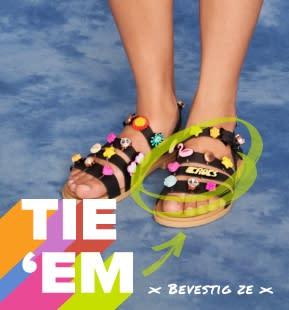 'Tie 'Em' - Black Strappy Sandals with Jibbitz