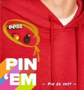 'Pin 'Em' - Jibbitz pinned to red hooded sweatshirt