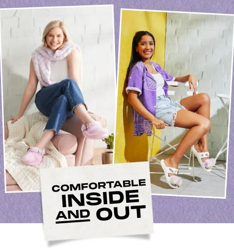 Models Posing with Puff Clog and Puff Sandal in domestic setting, Promotional Text between
